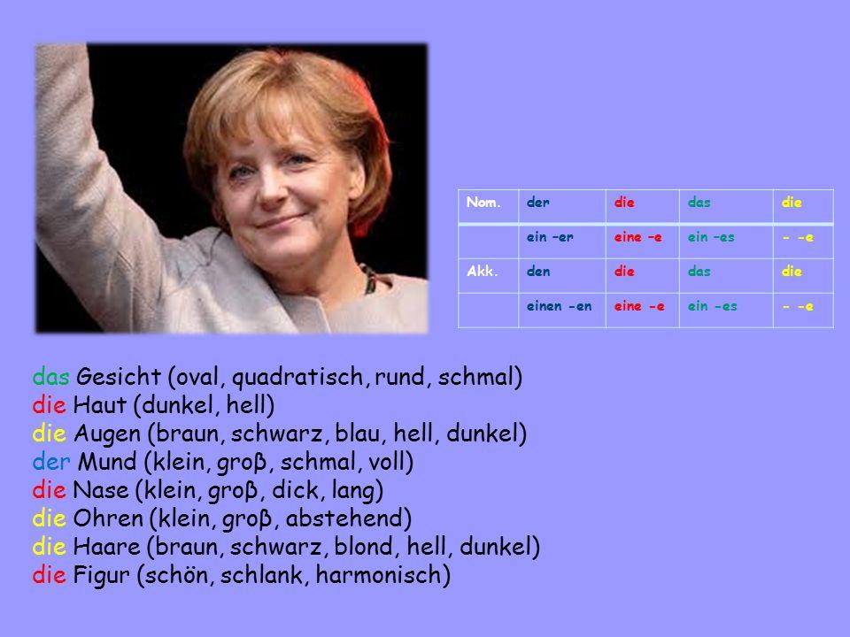 Nom.derdiedasdie ein –ereine –eein –es- -e Akk.dendiedasdie einen -eneine -eein -es- -e das Gesicht (oval, quadratisch, rund, schmal) die Haut (dunkel, hell) die Augen (braun, schwarz, blau, hell, dunkel) der Mund (klein, groβ, schmal, voll) die Nase (klein, groβ, dick, lang) die Ohren (klein, groβ, abstehend) die Haare (braun, schwarz, blond, hell, dunkel) die Figur (schön, schlank, harmonisch)