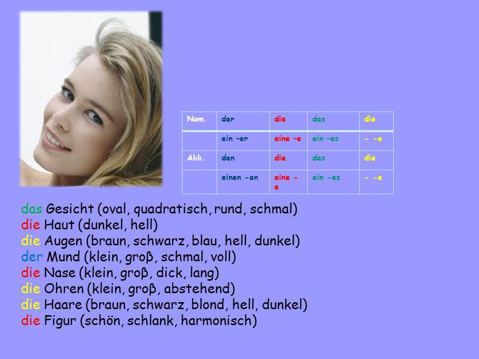 Nom.derdiedasdie ein –ereine –eein –es- -e Akk.dendiedasdie einen -eneine - e ein -es- -e das Gesicht (oval, quadratisch, rund, schmal) die Haut (dunkel, hell) die Augen (braun, schwarz, blau, hell, dunkel) der Mund (klein, groβ, schmal, voll) die Nase (klein, groβ, dick, lang) die Ohren (klein, groβ, abstehend) die Haare (braun, schwarz, blond, hell, dunkel) die Figur (schön, schlank, harmonisch)
