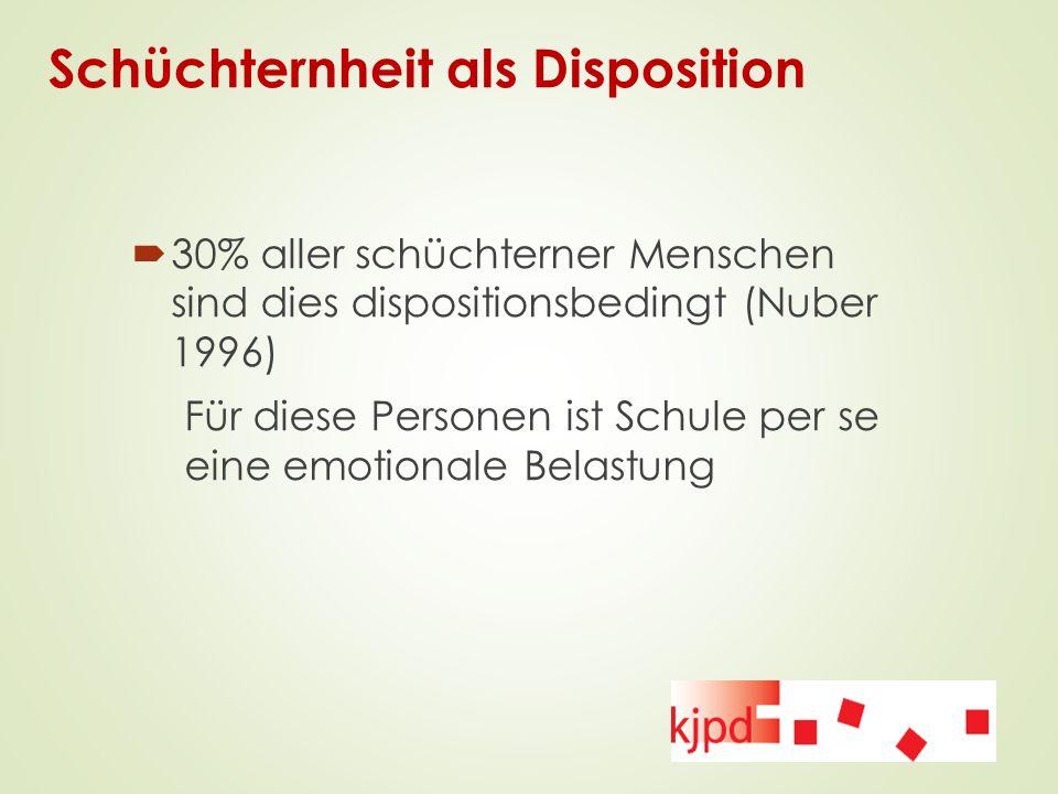 Schüchternheit als Disposition  30% aller schüchterner Menschen sind dies dispositionsbedingt (Nuber 1996) Für diese Personen ist Schule per se eine