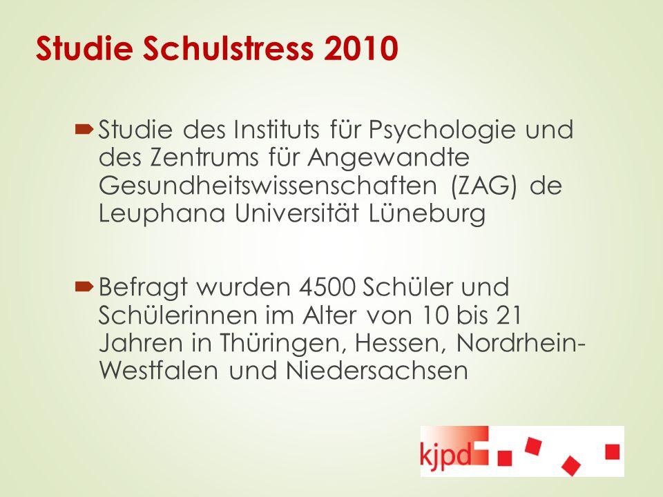 Studie Schulstress 2010  Studie des Instituts für Psychologie und des Zentrums für Angewandte Gesundheitswissenschaften (ZAG) de Leuphana Universität