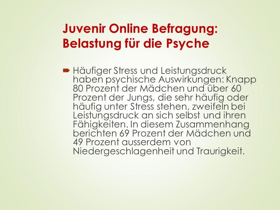 Juvenir Online Befragung: Belastung für die Psyche  Häufiger Stress und Leistungsdruck haben psychische Auswirkungen: Knapp 80 Prozent der Mädchen un