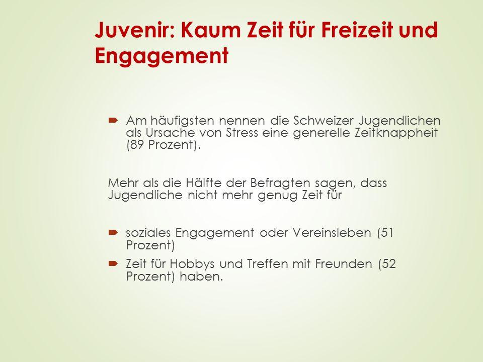 Juvenir: Kaum Zeit für Freizeit und Engagement  Am häufigsten nennen die Schweizer Jugendlichen als Ursache von Stress eine generelle Zeitknappheit (