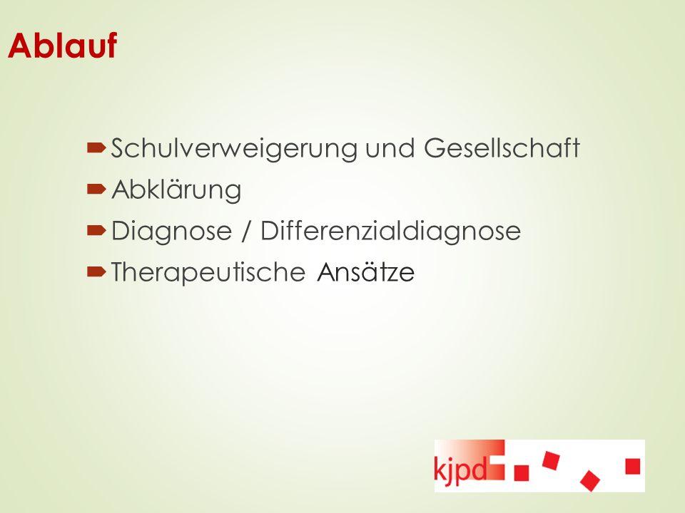 Ablauf  Schulverweigerung und Gesellschaft  Abklärung  Diagnose / Differenzialdiagnose  Therapeutische Ansätze