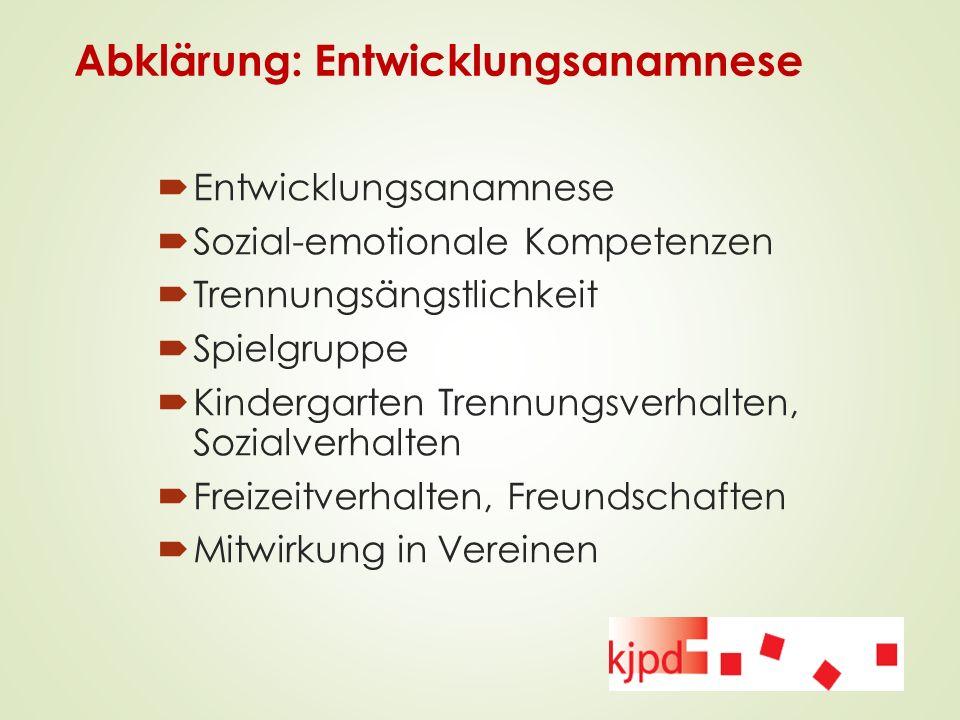 Abklärung: Entwicklungsanamnese  Entwicklungsanamnese  Sozial-emotionale Kompetenzen  Trennungsängstlichkeit  Spielgruppe  Kindergarten Trennungs