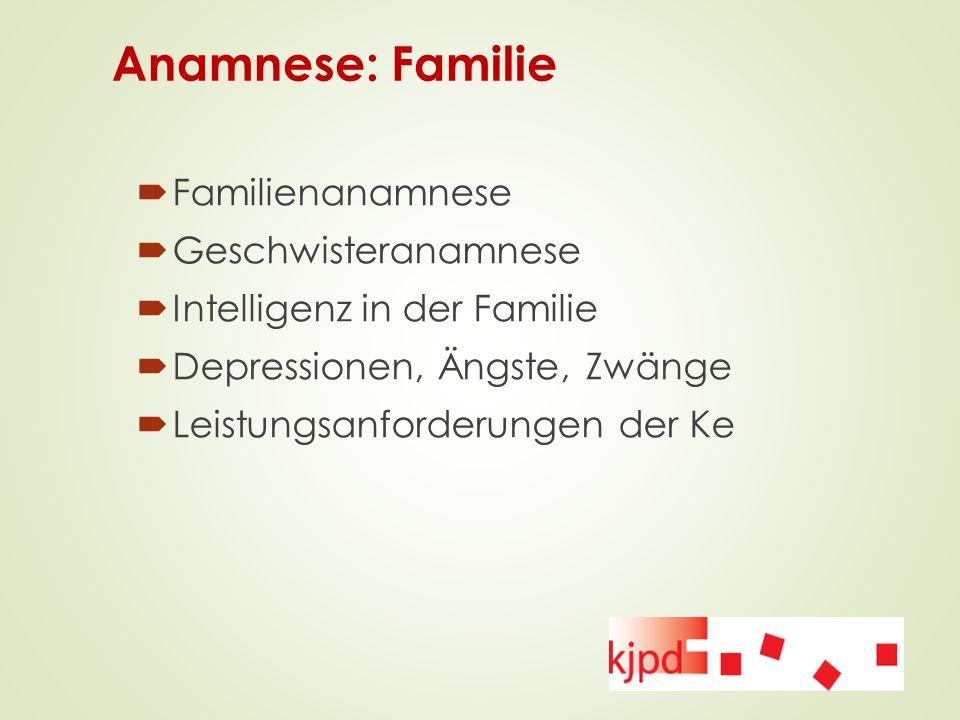 Anamnese: Familie  Familienanamnese  Geschwisteranamnese  Intelligenz in der Familie  Depressionen, Ängste, Zwänge  Leistungsanforderungen der Ke