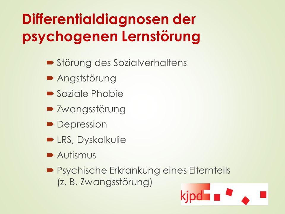 Differentialdiagnosen der psychogenen Lernstörung  Störung des Sozialverhaltens  Angststörung  Soziale Phobie  Zwangsstörung  Depression  LRS, D