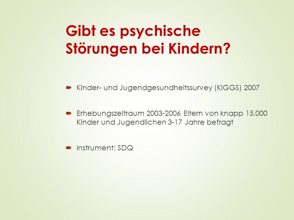  Kinder- und Jugendgesundheitssurvey (KiGGS) 2007  Erhebungszeitraum 2003-2006 Eltern von knapp 15.000 Kinder und Jugendlichen 3-17 Jahre befragt 