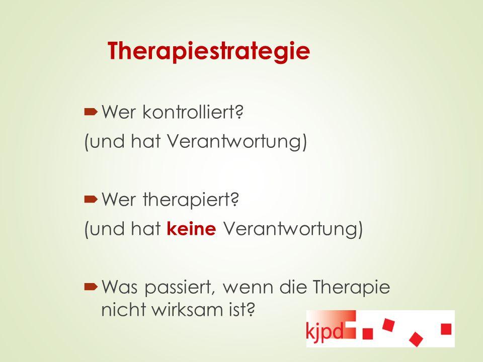 Therapiestrategie  Wer kontrolliert? (und hat Verantwortung)  Wer therapiert? (und hat keine Verantwortung)  Was passiert, wenn die Therapie nicht
