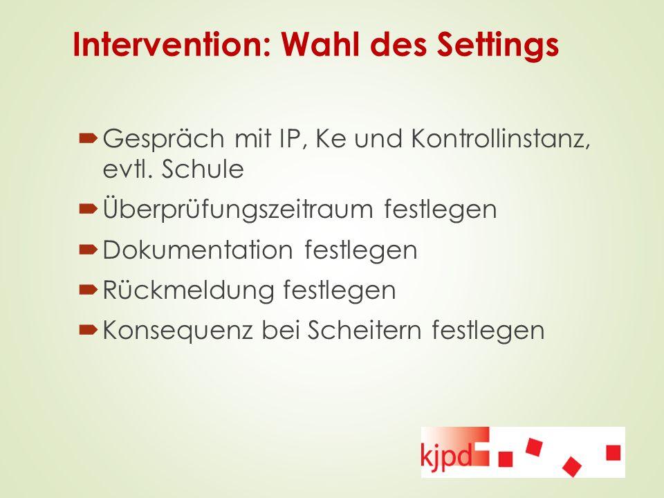 Intervention: Wahl des Settings  Gespräch mit IP, Ke und Kontrollinstanz, evtl. Schule  Überprüfungszeitraum festlegen  Dokumentation festlegen  R
