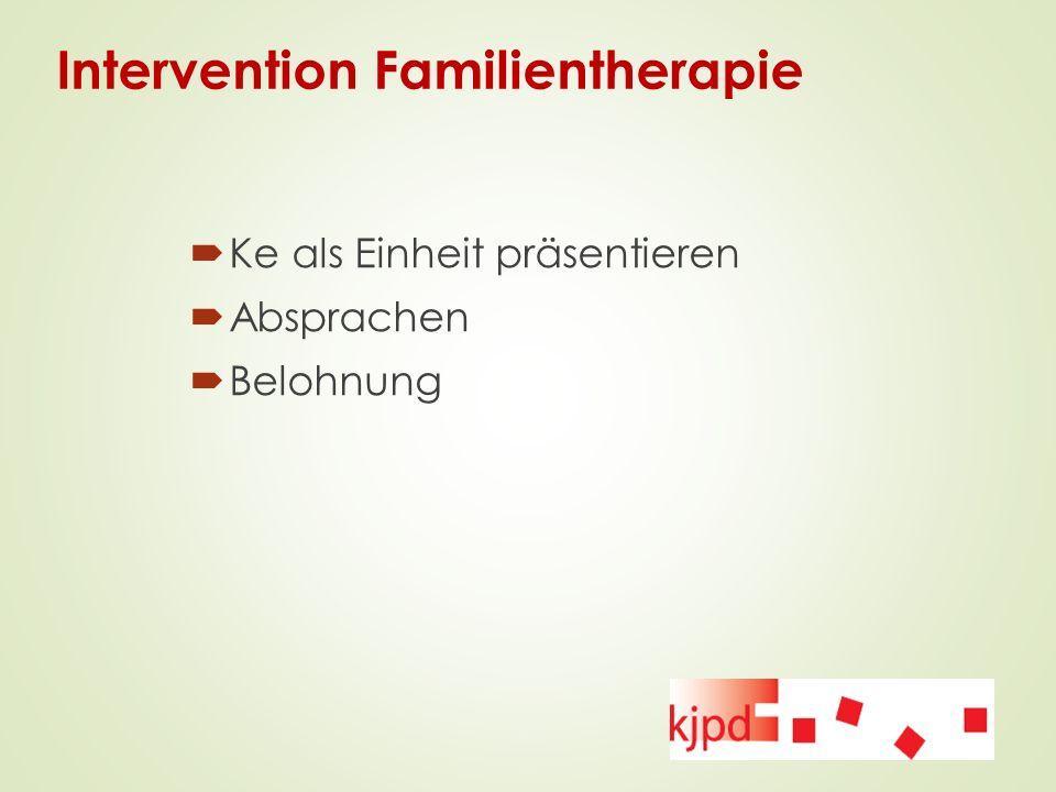 Intervention Familientherapie  Ke als Einheit präsentieren  Absprachen  Belohnung