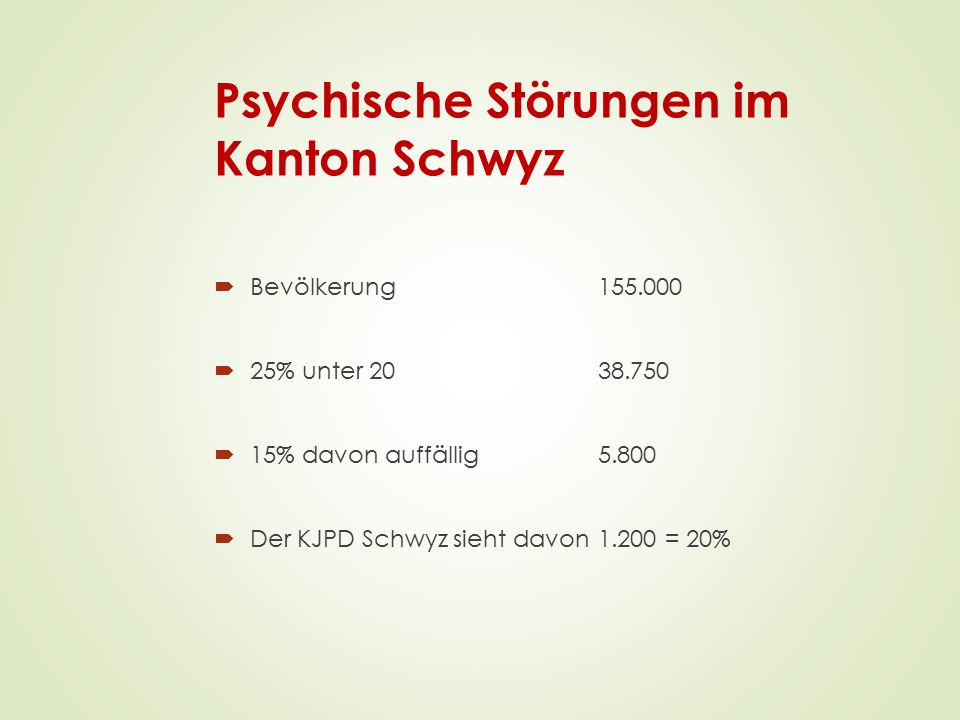 Psychische Störungen im Kanton Schwyz  Bevölkerung 155.000  25% unter 2038.750  15% davon auffällig5.800  Der KJPD Schwyz sieht davon 1.200 = 20%