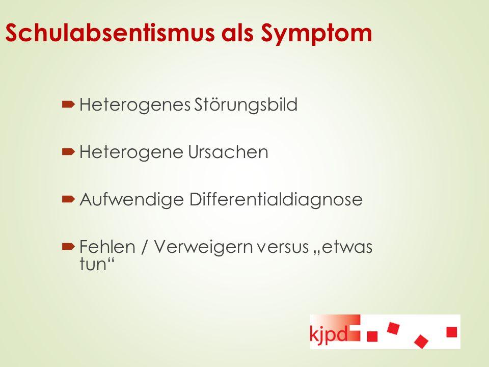 """Schulabsentismus als Symptom  Heterogenes Störungsbild  Heterogene Ursachen  Aufwendige Differentialdiagnose  Fehlen / Verweigern versus """"etwas tu"""