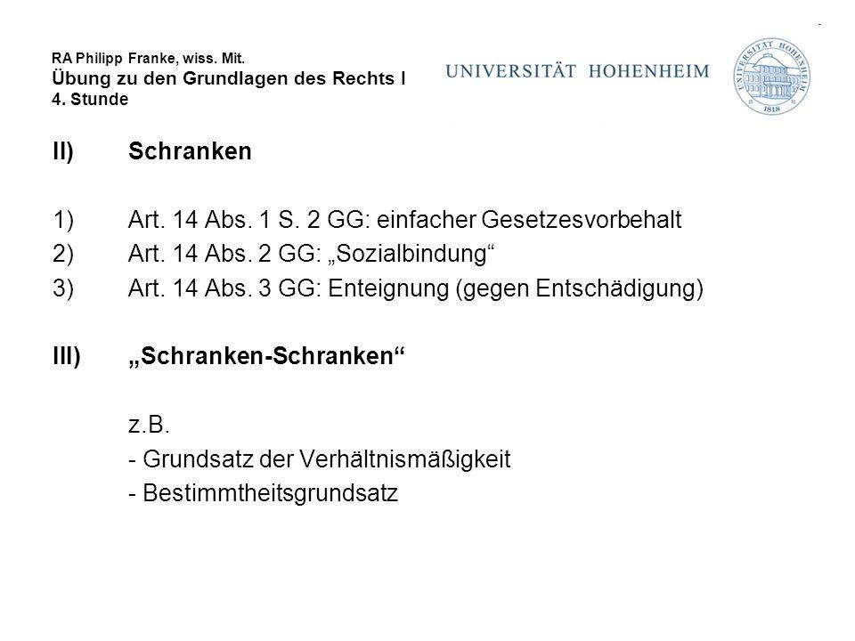 RA Philipp Franke, wiss. Mit. Übung zu den Grundlagen des Rechts I 4. Stunde II)Schranken 1)Art. 14 Abs. 1 S. 2 GG: einfacher Gesetzesvorbehalt 2)Art.