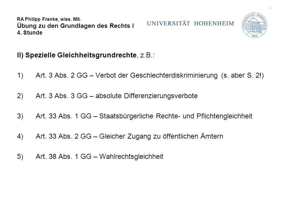 RA Philipp Franke, wiss.Mit. Übung zu den Grundlagen des Rechts I 4.