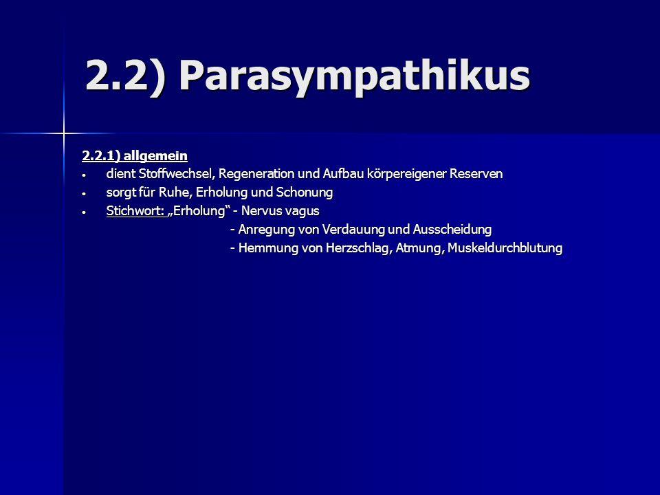 2.2) Parasympathikus 2.2.1) allgemein dient Stoffwechsel, Regeneration und Aufbau körpereigener Reserven dient Stoffwechsel, Regeneration und Aufbau k