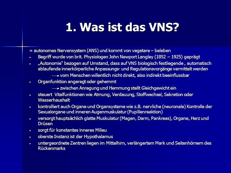 1. Was ist das VNS? = autonomes Nervensystem (ANS) und kommt von vegetare – beleben Begriff wurde von brit. Physiologen John Newport Langley (1852 – 1