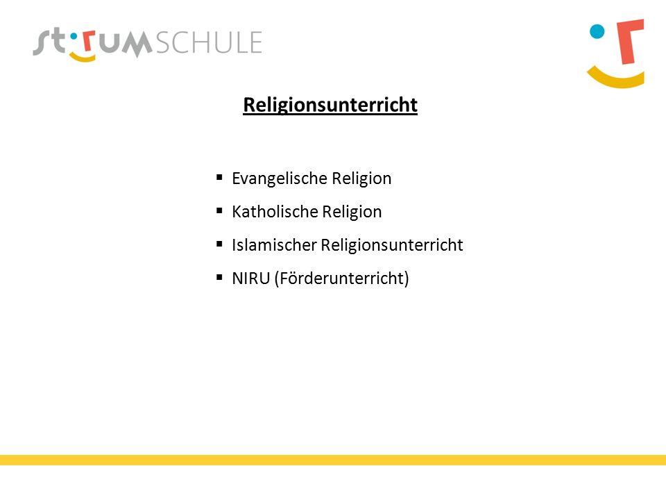 Religionsunterricht  Evangelische Religion  Katholische Religion  Islamischer Religionsunterricht  NIRU (Förderunterricht)