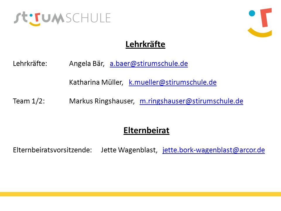 Lehrkräfte Lehrkräfte:Angela Bär, a.baer@stirumschule.de Katharina Müller, k.mueller@stirumschule.dea.baer@stirumschule.dek.mueller@stirumschule.de Team 1/2:Markus Ringshauser, m.ringshauser@stirumschule.de Elternbeiratm.ringshauser@stirumschule.de Elternbeiratsvorsitzende: Jette Wagenblast, jette.bork-wagenblast@arcor.dejette.bork-wagenblast@arcor.de