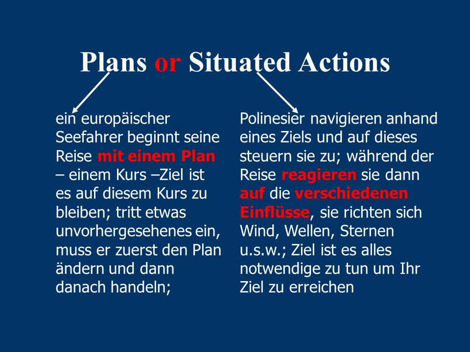 "Der Begriff ""Situated Action"" Ausgangspunkt war die ""Ethnomethodologie""- Harold Garfinkel- Alternative zum traditionellen ""planning model"" zielgericht"