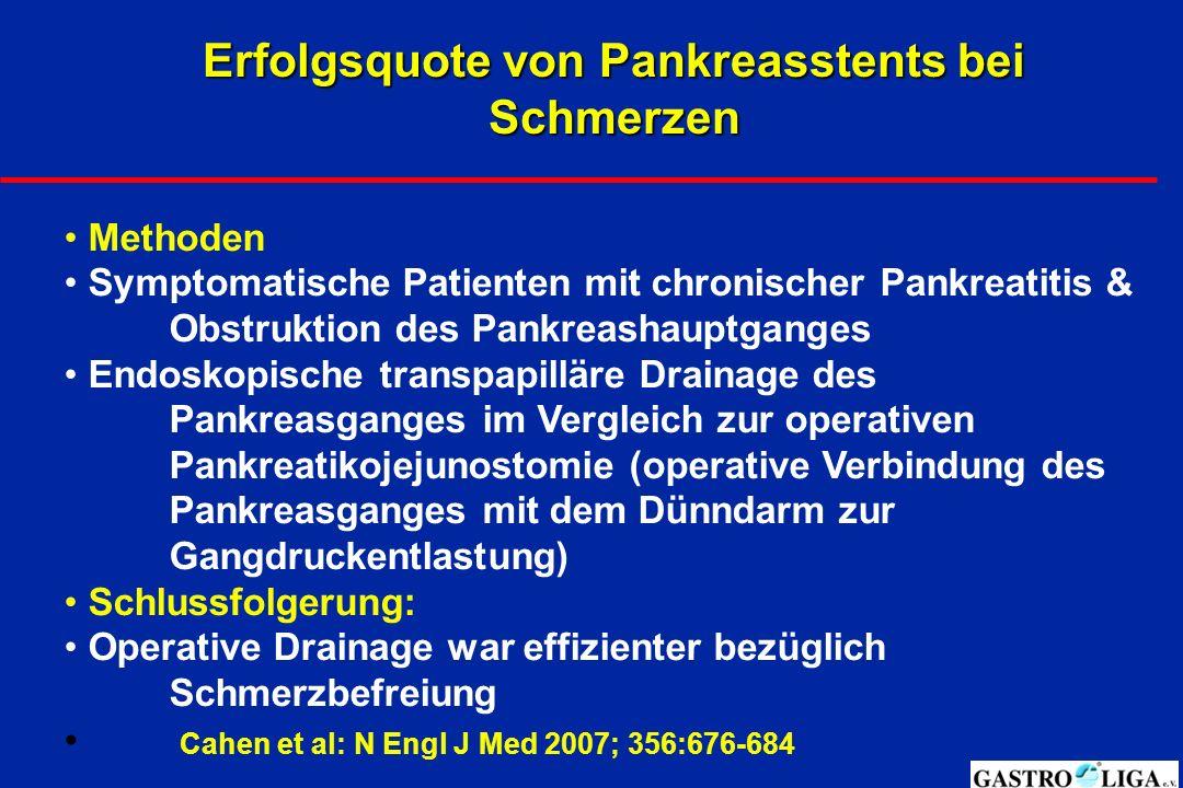 Zusammenfassung: Endoskopische Therapie - Drainage von Pseudozysten - Überbrückung von Engstellen im Gallengang -Überbrückung von Engstellen im Pankreasgang -Endoskopische Steinentfernung nach ESWL - Schienung des Dünndarms - Zugang durch die Haut und die Leber möglich