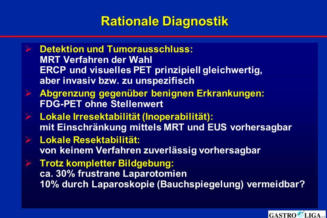 Rationale Diagnostik  Detektion und Tumorausschluss: MRT Verfahren der Wahl ERCP und visuelles PET prinzipiell gleichwertig, aber invasiv bzw. zu uns