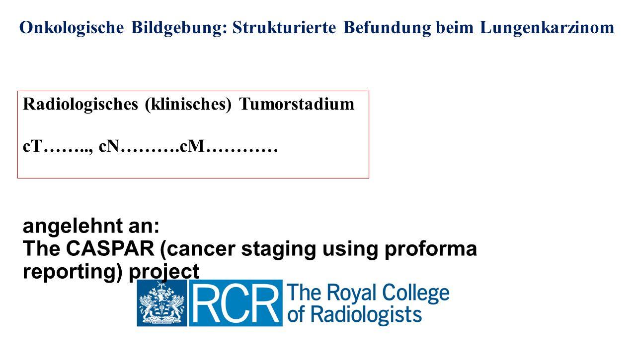 Onkologische Bildgebung: Strukturierte Befundung beim Lungenkarzinom Radiologisches (klinisches) Tumorstadium cT…….., cN……….cM………… angelehnt an: The CASPAR (cancer staging using proforma reporting) project