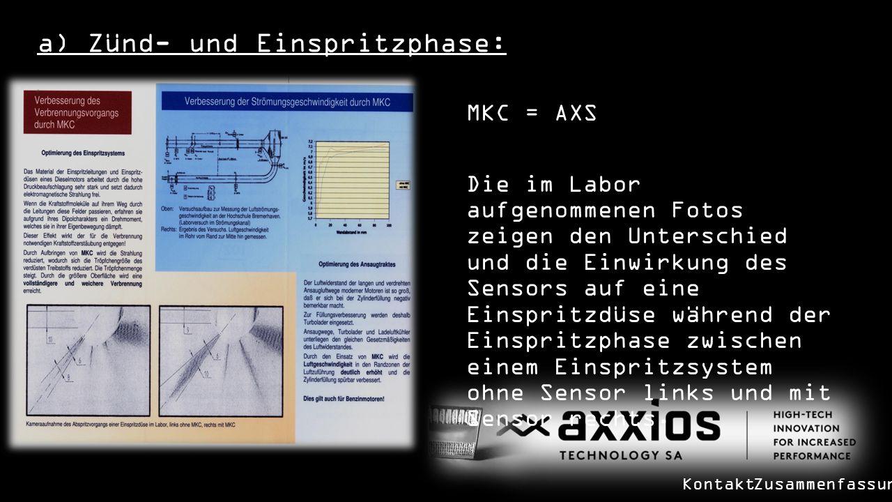 a) Zünd- und Einspritzphase: MKC = AXS Die im Labor aufgenommenen Fotos zeigen den Unterschied und die Einwirkung des Sensors auf eine Einspritzdüse während der Einspritzphase zwischen einem Einspritzsystem ohne Sensor links und mit Sensor rechts.