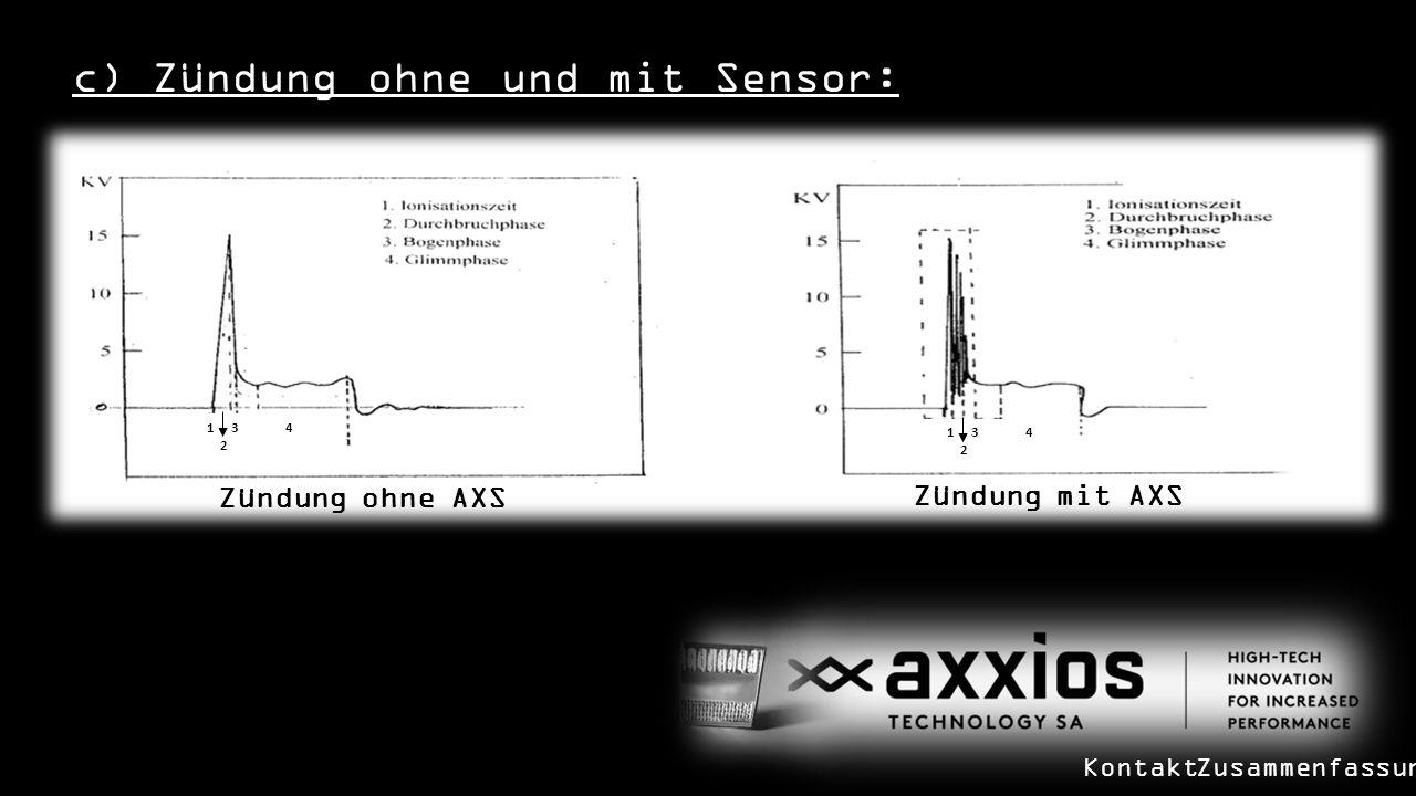 c) Zündung ohne und mit Sensor: Zündung ohne AXS 1 3 4 2 1 3 4 2 Zündung mit AXS KontaktZusammenfassung