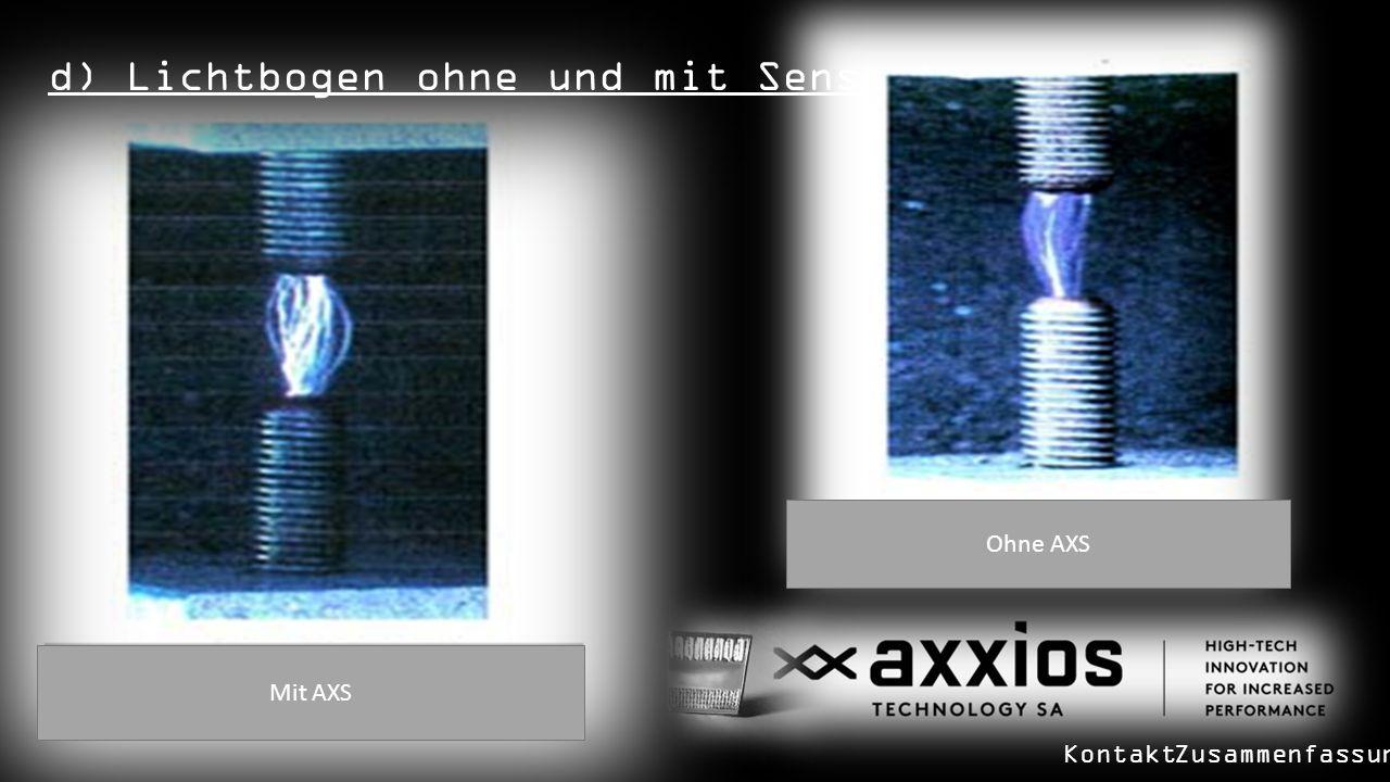 d) Lichtbogen ohne und mit Sensor: Mit AXS Ohne AXS KontaktZusammenfassung