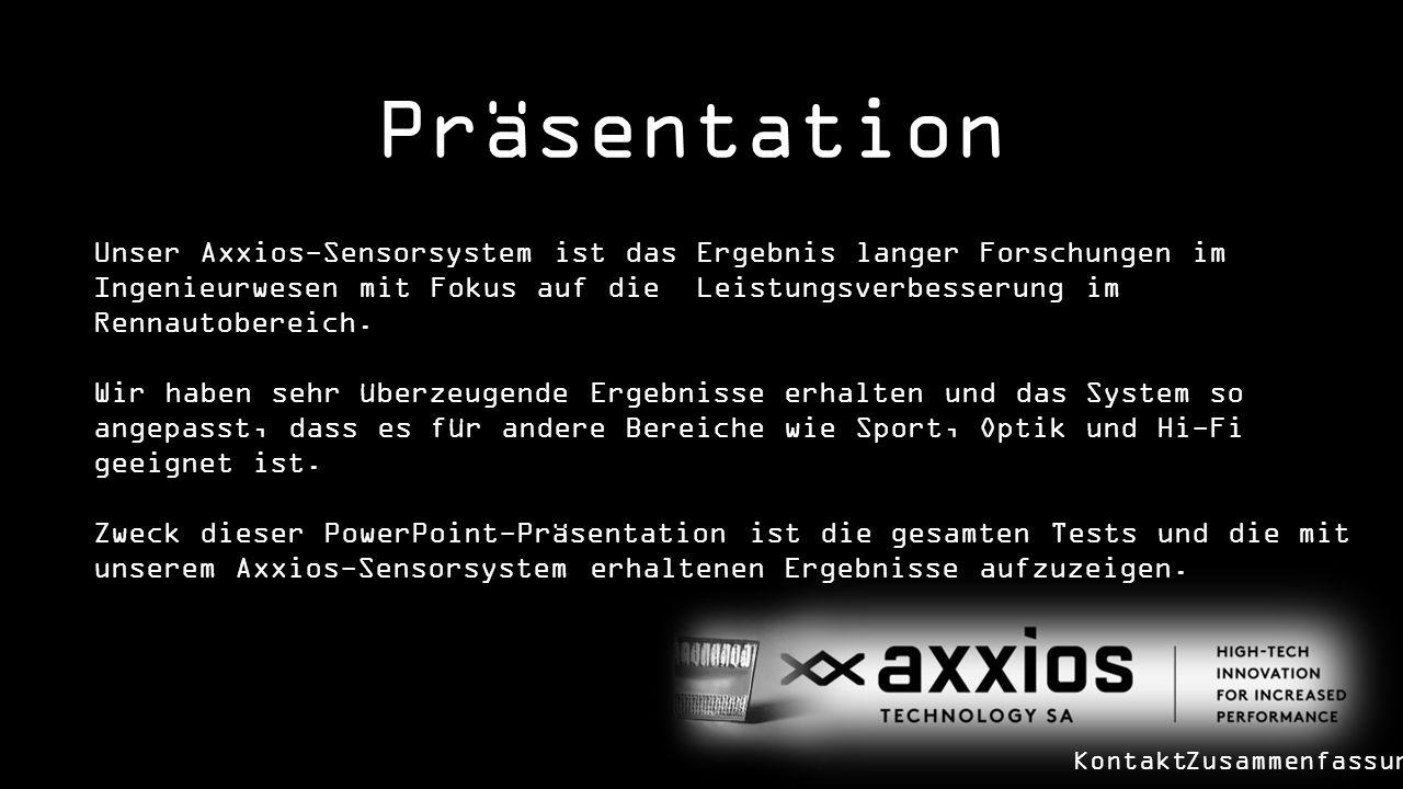 Präsentation Zusammenfassung Unser Axxios-Sensorsystem ist das Ergebnis langer Forschungen im Ingenieurwesen mit Fokus auf die Leistungsverbesserung im Rennautobereich.