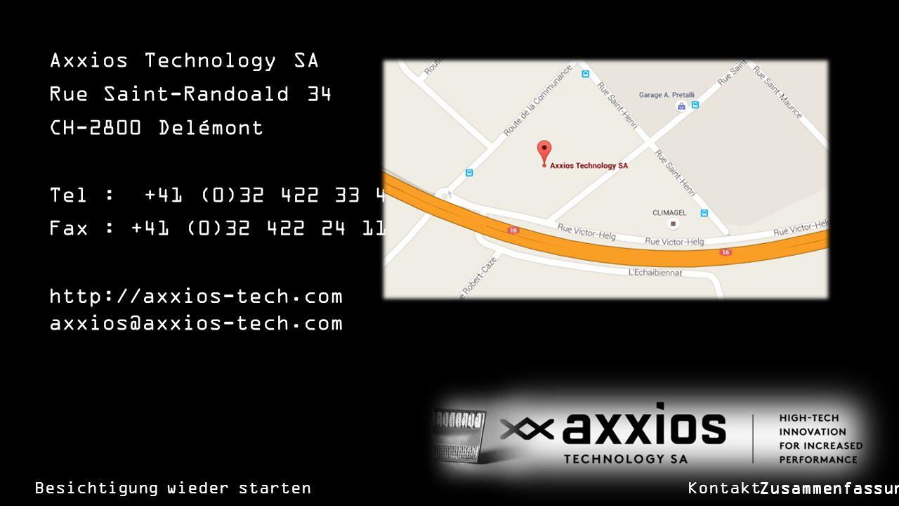 Axxios Technology SA Rue Saint-Randoald 34 CH-2800 Delémont Tel : +41 (0)32 422 33 44 Fax : +41 (0)32 422 24 11 Besichtigung wieder starten axxios@axxios-tech.com http://axxios-tech.com Kontakt Zusammenfassung