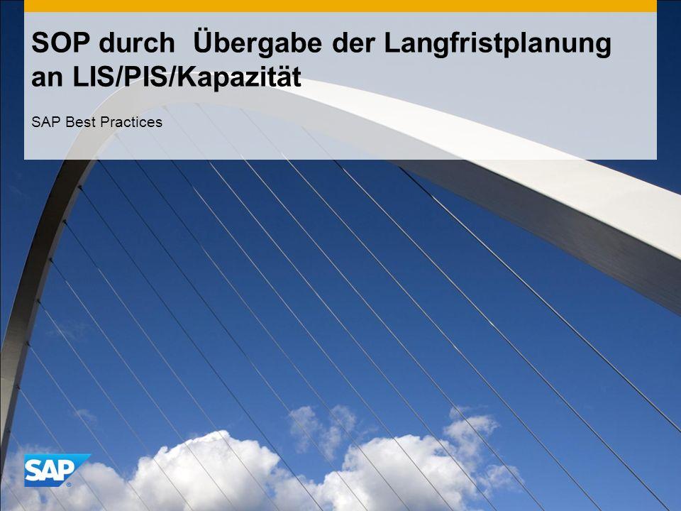 SOP durch Übergabe der Langfristplanung an LIS/PIS/Kapazität SAP Best Practices