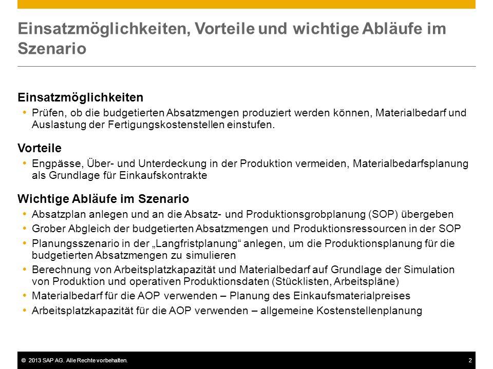 ©2013 SAP AG. Alle Rechte vorbehalten.2 Einsatzmöglichkeiten, Vorteile und wichtige Abläufe im Szenario Einsatzmöglichkeiten  Prüfen, ob die budgetie