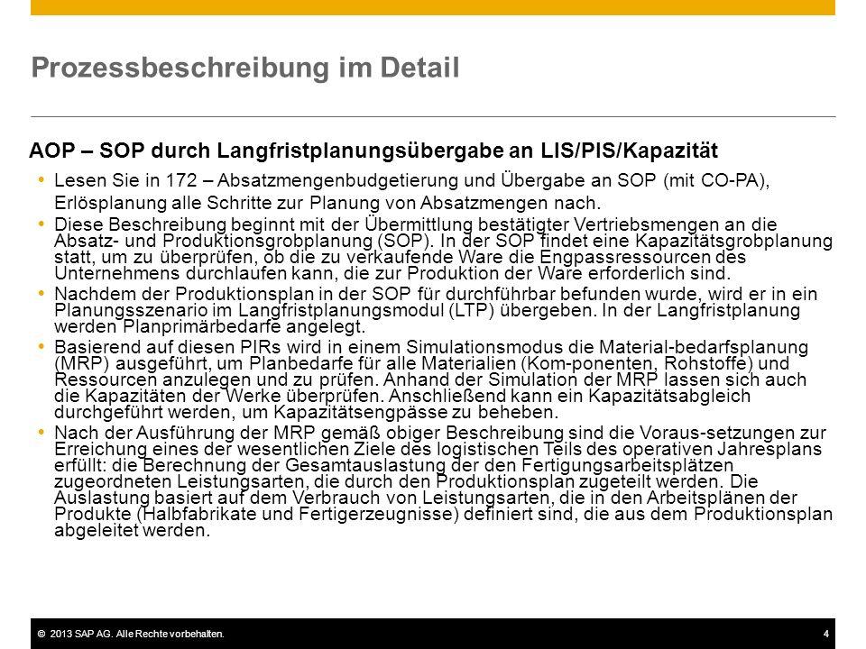 ©2013 SAP AG. Alle Rechte vorbehalten.4 Prozessbeschreibung im Detail AOP – SOP durch Langfristplanungsübergabe an LIS/PIS/Kapazität  Lesen Sie in 17