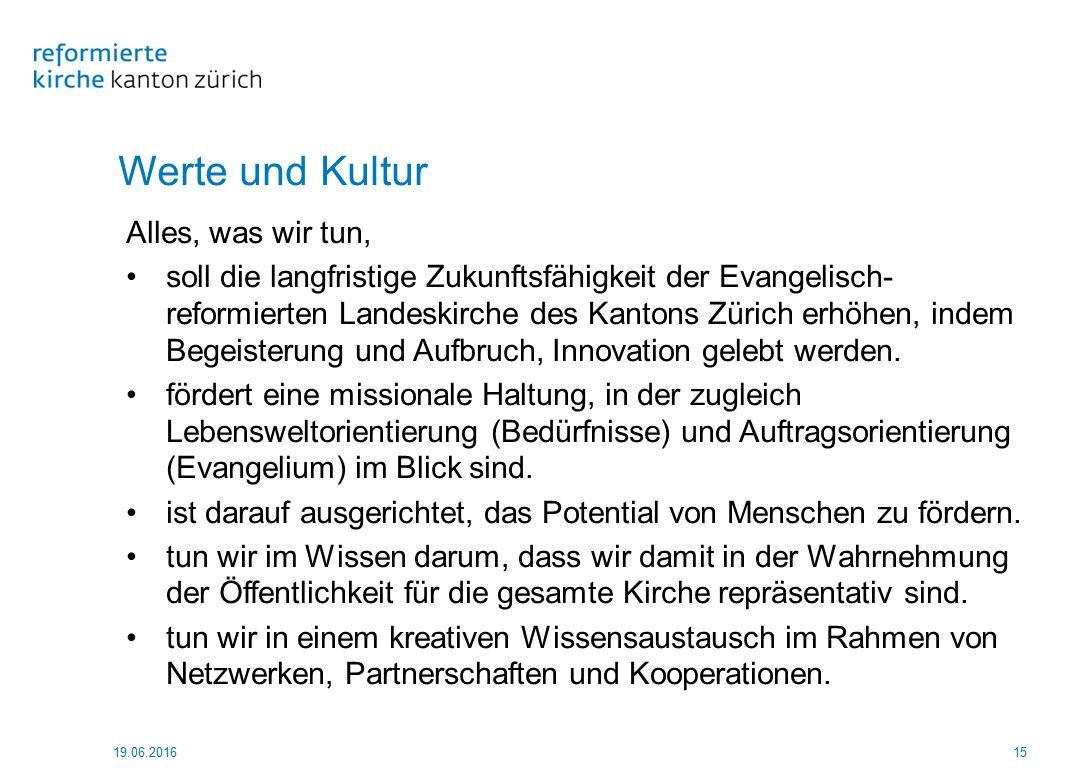 Werte und Kultur Alles, was wir tun, soll die langfristige Zukunftsfähigkeit der Evangelisch- reformierten Landeskirche des Kantons Zürich erhöhen, in