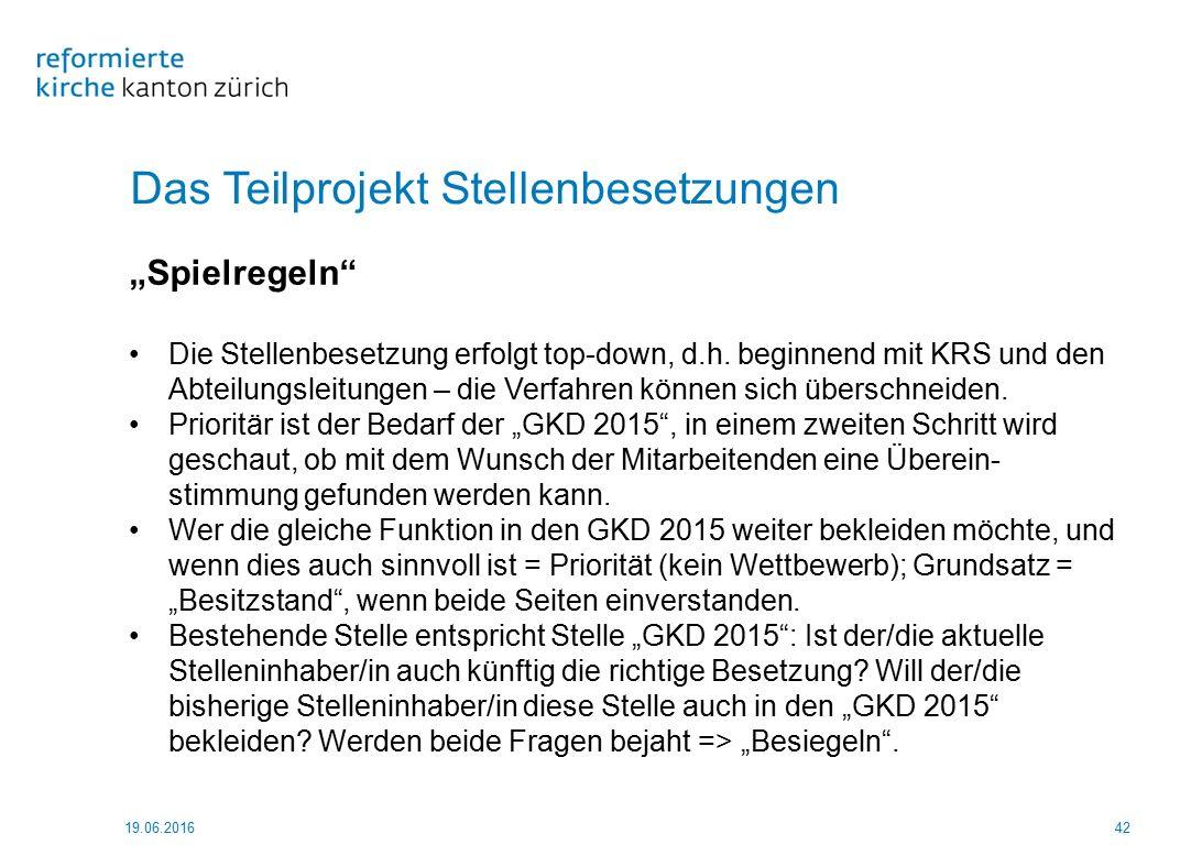 """Das Teilprojekt Stellenbesetzungen 19.06.201642 """"Spielregeln"""" Die Stellenbesetzung erfolgt top-down, d.h. beginnend mit KRS und den Abteilungsleitunge"""
