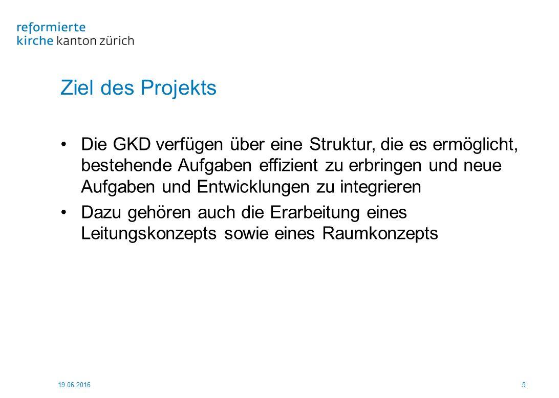 Ausgangspunkt: KRB 30.1.2013 19.06.20166 Auftrag zur Überprüfung der Organisation GKD Ziel: Verbesserung Steuerung und Leitung GKD