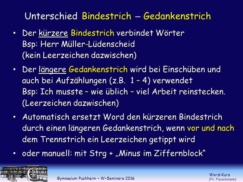 Gymnasium Puchheim – W-Seminare 2016 Word-Kurs (Fr.