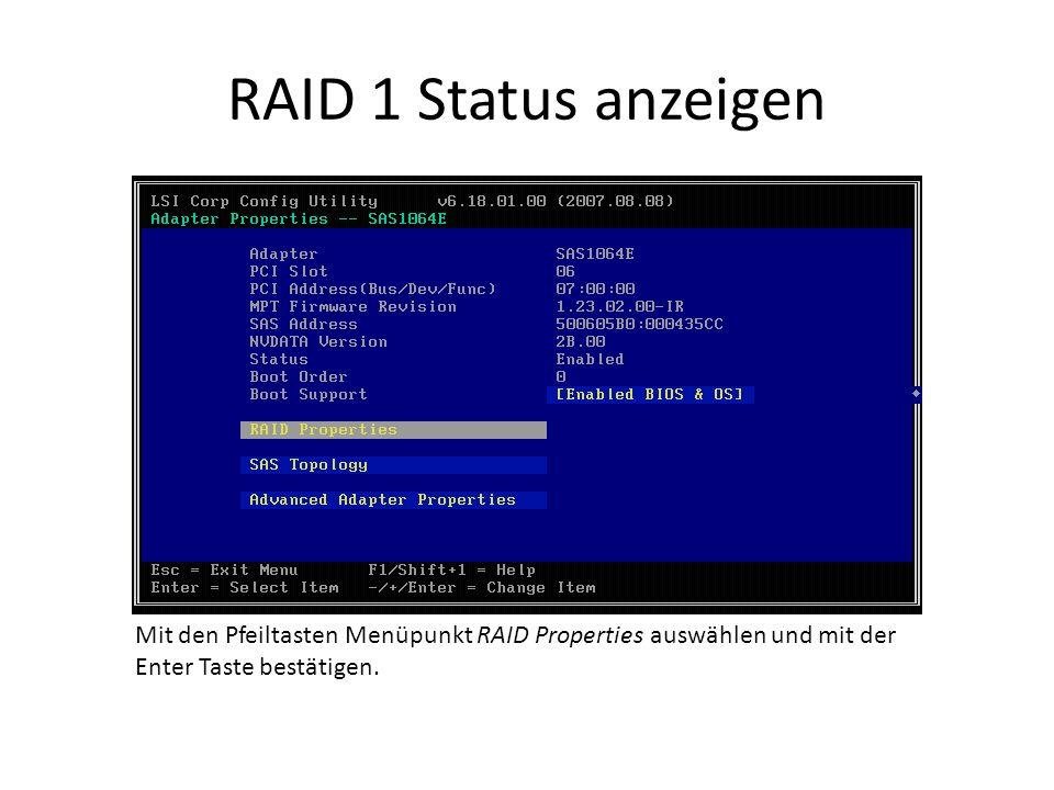 RAID 1 Status anzeigen Mit den Pfeiltasten Menüpunkt RAID Properties auswählen und mit der Enter Taste bestätigen.