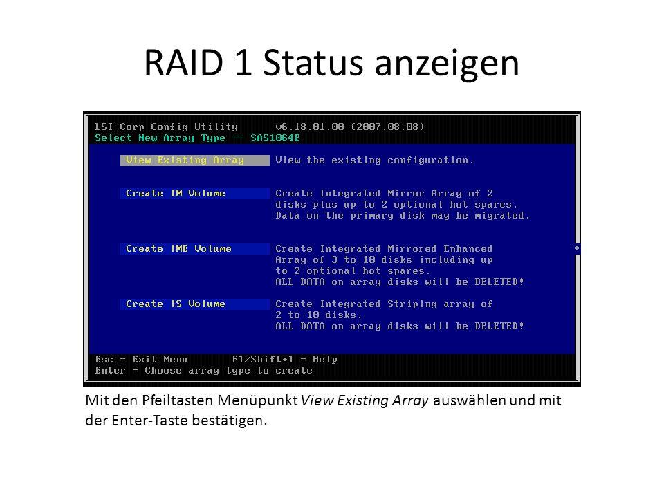 RAID 1 Status anzeigen Mit den Pfeiltasten Menüpunkt View Existing Array auswählen und mit der Enter-Taste bestätigen.