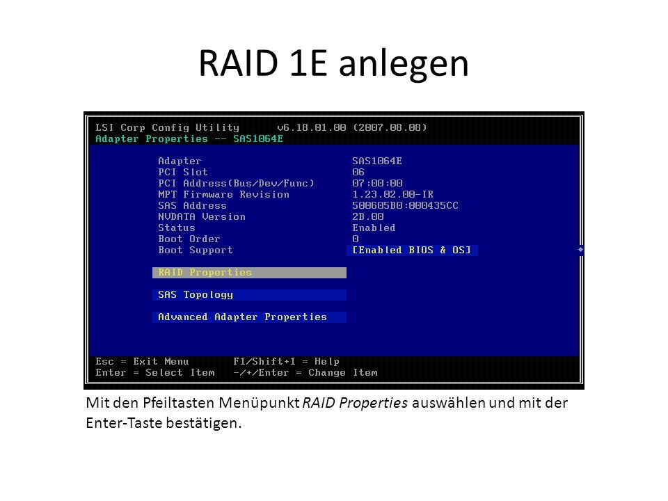 RAID 1E anlegen Mit den Pfeiltasten Menüpunkt RAID Properties auswählen und mit der Enter-Taste bestätigen.
