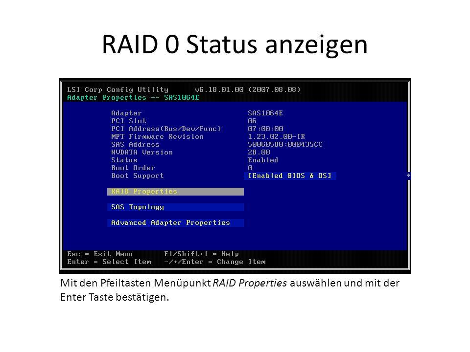 RAID 0 Status anzeigen Mit den Pfeiltasten Menüpunkt RAID Properties auswählen und mit der Enter Taste bestätigen.