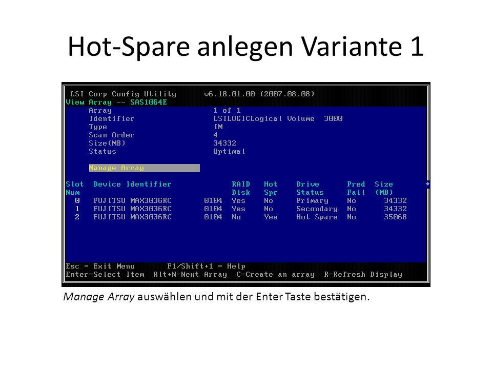 Hot-Spare anlegen Variante 1 Manage Array auswählen und mit der Enter Taste bestätigen.