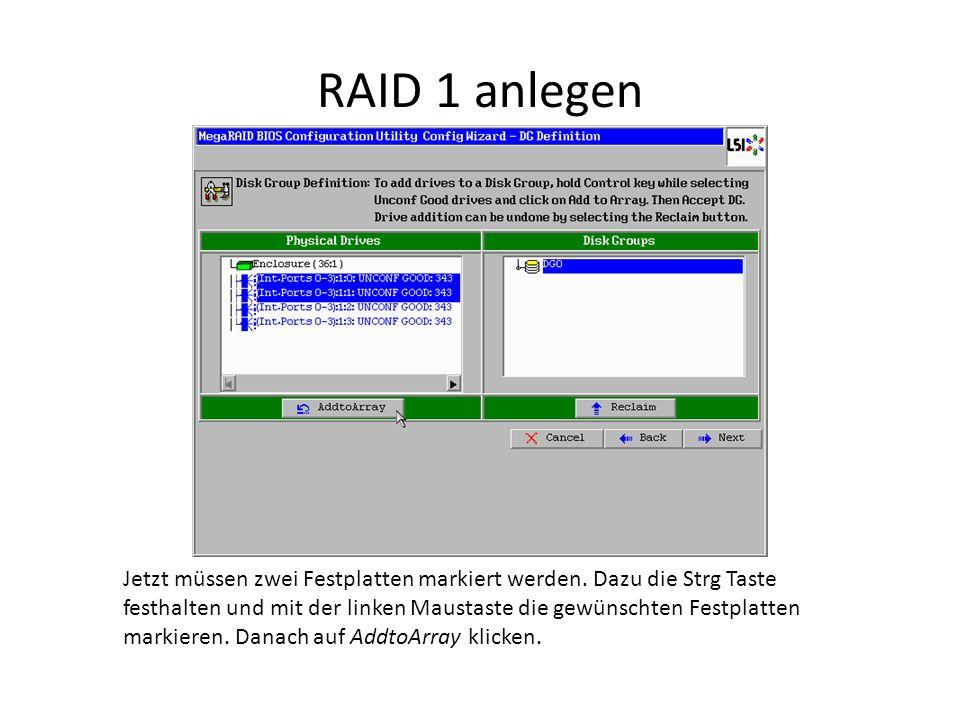 RAID 1 anlegen Jetzt müssen zwei Festplatten markiert werden. Dazu die Strg Taste festhalten und mit der linken Maustaste die gewünschten Festplatten