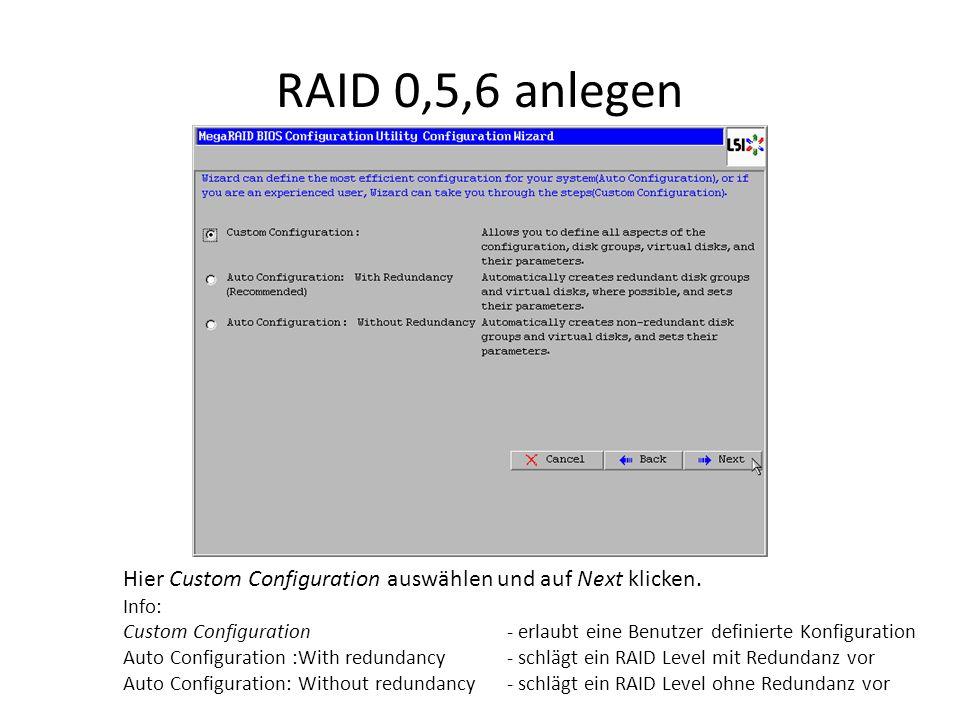 RAID 0,5,6 anlegen Hier Custom Configuration auswählen und auf Next klicken. Info: Custom Configuration - erlaubt eine Benutzer definierte Konfigurati