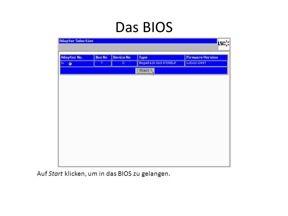 BIOS Defaults laden Auf Adapter Properties klicken.