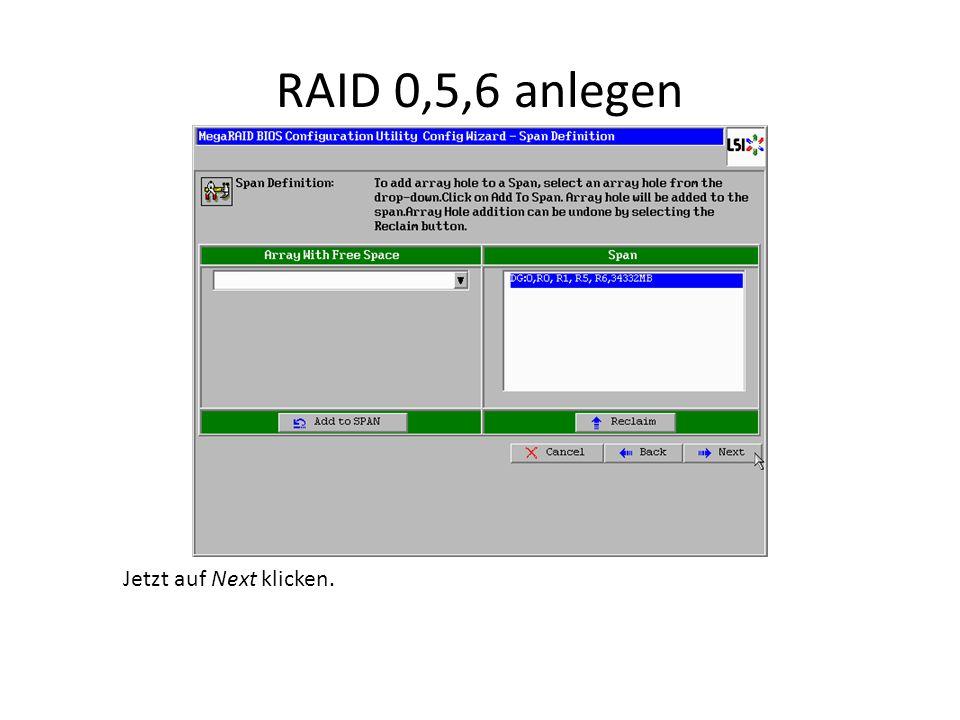 RAID 0,5,6 anlegen Jetzt auf Next klicken.