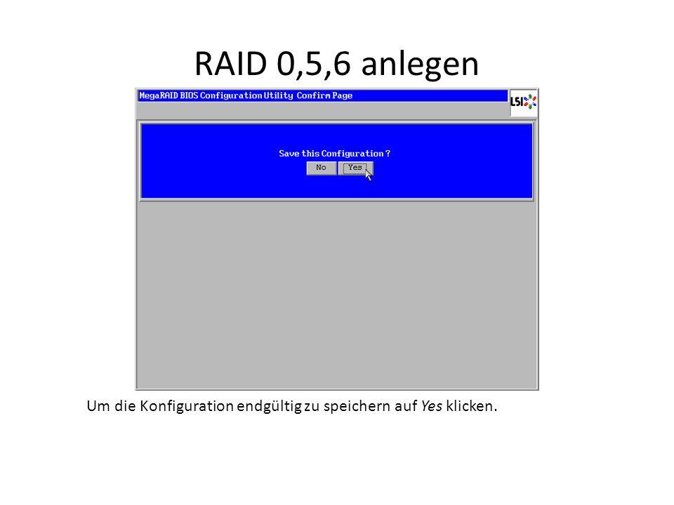 RAID 0,5,6 anlegen Um die Konfiguration endgültig zu speichern auf Yes klicken.