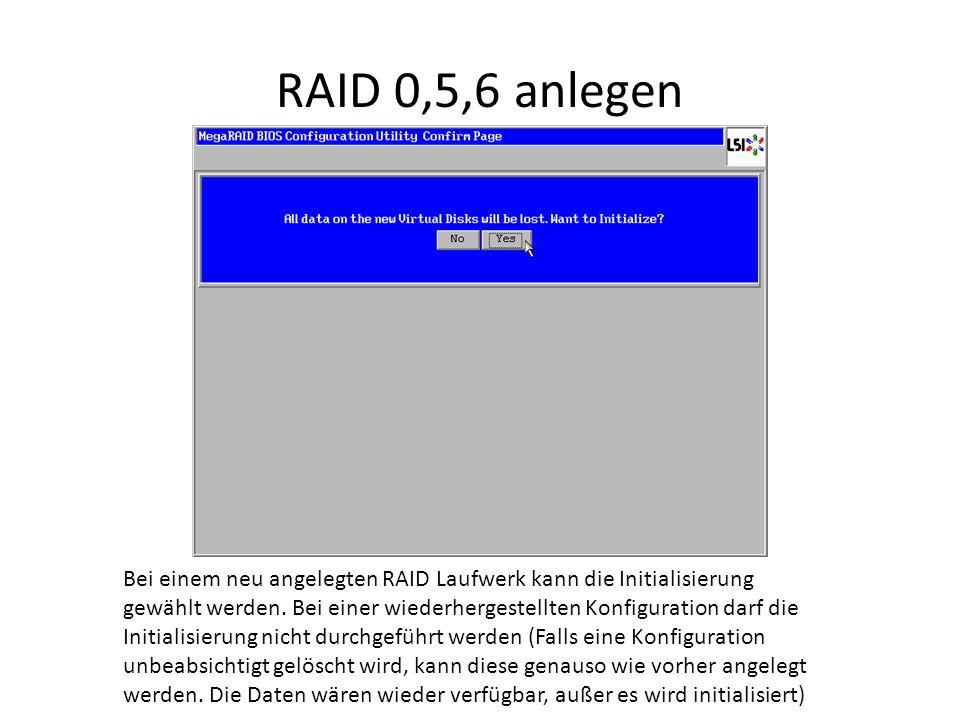 RAID 0,5,6 anlegen Bei einem neu angelegten RAID Laufwerk kann die Initialisierung gewählt werden. Bei einer wiederhergestellten Konfiguration darf di