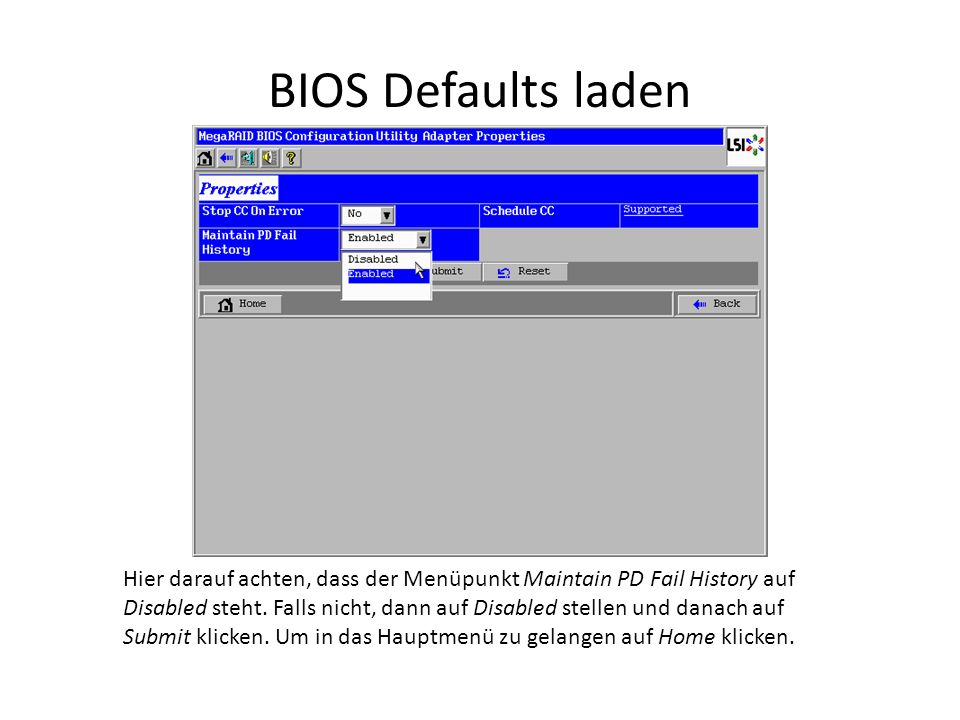 BIOS Defaults laden Hier darauf achten, dass der Menüpunkt Maintain PD Fail History auf Disabled steht.